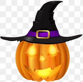 Halloween Pumpkin With Witch Hat PNG Clip Art - Pumpkin Witch Hat Halloween Jack-o'-lantern Clip Art PNG