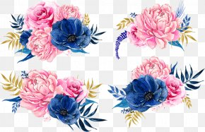 Color Flower Pattern - Paper Flower Blue Clip Art PNG