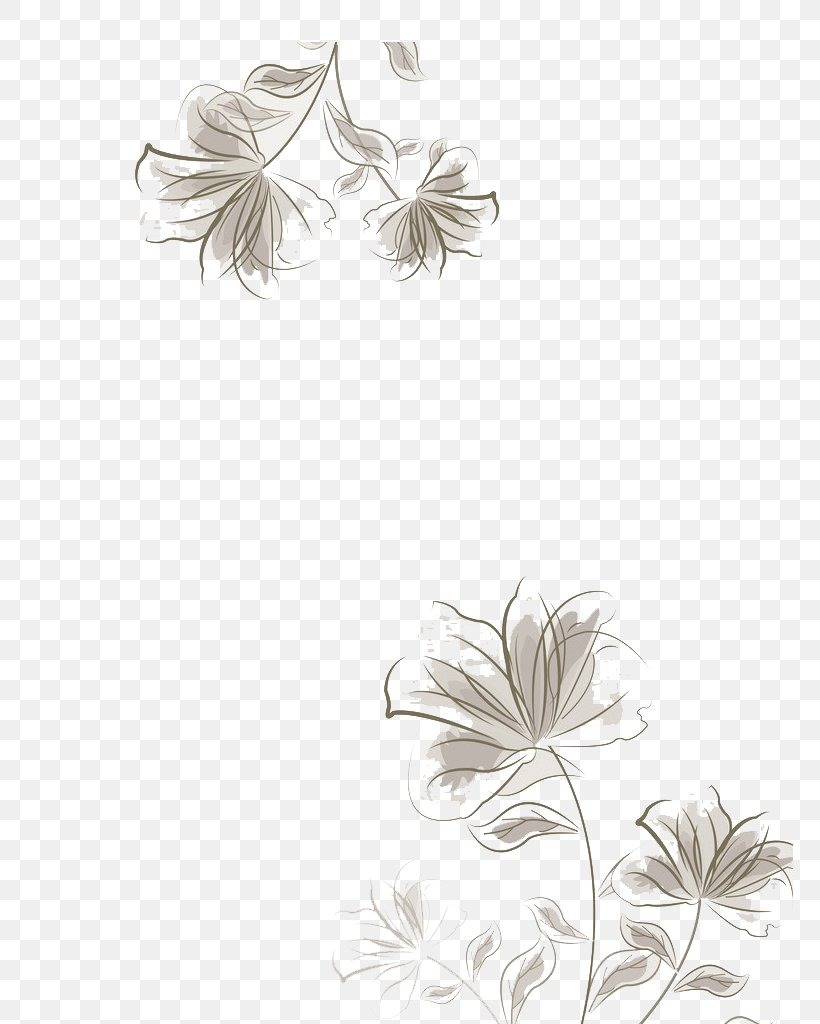 Black And White Graphic Design, PNG, 767x1024px, Black And White, Designer, Flora, Floral Design, Flower Download Free