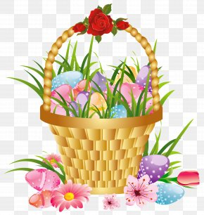 Easter Basket With Eggs And Flowers Picture Clipart - Flower Basket Clip Art PNG