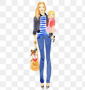 A Woman Holding A Child - Watercolor Painting Fashion Illustration Drawing Illustration PNG