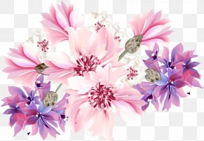Romantic Fantasy Floral Background - Flower Purple Stock Photography Blue Wallpaper PNG