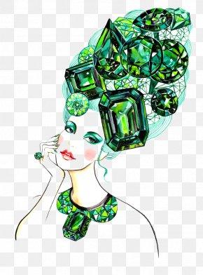 Hand-painted Hair Female Gem - Fashion Illustration Fashion Design Designer Illustration PNG