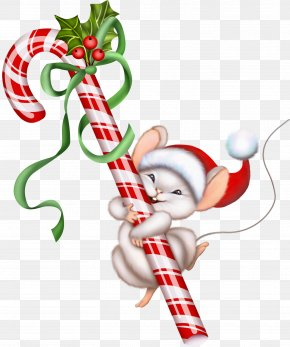 Christmas Candy Cane And Mouse Clipart - Candy Cane Christmas Lollipop Clip Art PNG