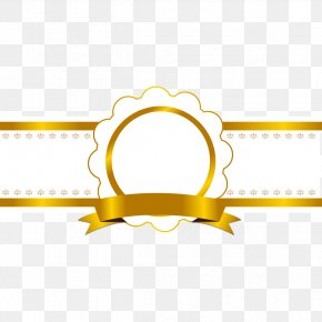 Shiny Gold Ribbon Border Tag - Ribbon Icon PNG