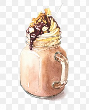 A Glass Of Ice Cream - Iced Coffee Watercolor Painting Drawing Illustration PNG