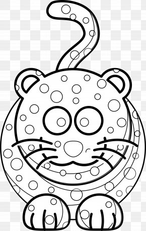 Cartoon Leopard Pictures - Cat Cartoon Black And White Drawing Clip Art PNG
