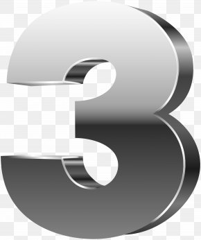 Number Three 3D Silver Clip Art Image - Number 3D Computer Graphics PNG