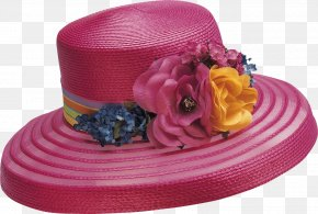 Hat Woman - Organza Pink Ribbon Color Hat PNG
