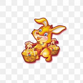 Gold Bunny - Greeting Card Chinese New Year Rabbit PNG