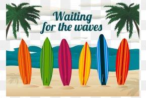 Summer Beach Background Vector - Surfing Surfboard Beach Clip Art PNG