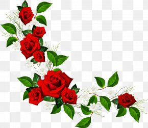 Red Flower Frame Pic - Rose Flower Clip Art PNG