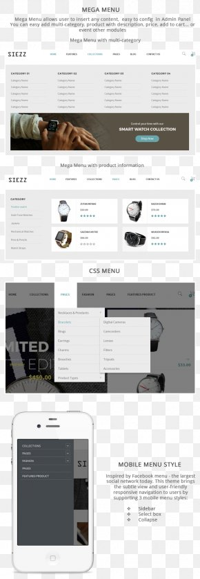 Menu Template - Responsive Web Design Brand Siezz Font PNG