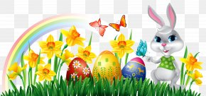 Easter Bunny With Daffodils Eggs And Grass Decor Clipart Picture - Easter Bunny Stock Photography Clip Art PNG
