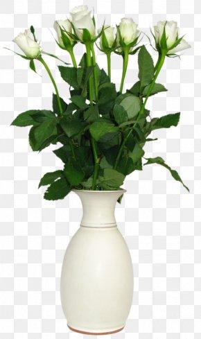 Transparent White Rose In Vase Picture - Flower Rose Vase Clip Art PNG
