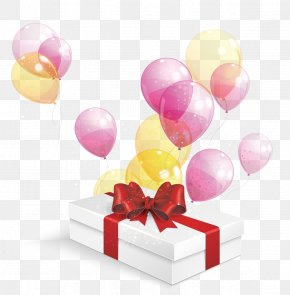 Gift Box With Balloons - Gift Decorative Box Clip Art PNG