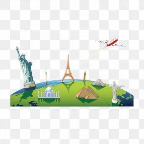 Global Travel - Tourism Poster Cartoon Illustration PNG