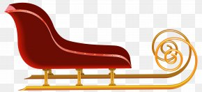 Red Sleigh Clip Art Image - Santa Claus Sled Christmas Clip Art PNG