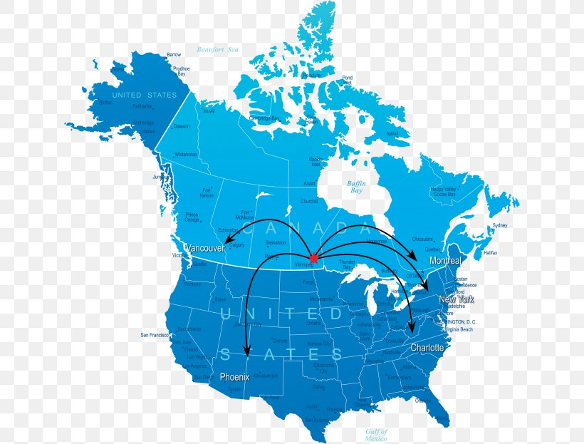 United States Road Map Canada Vector Map, PNG, 640x623px ...