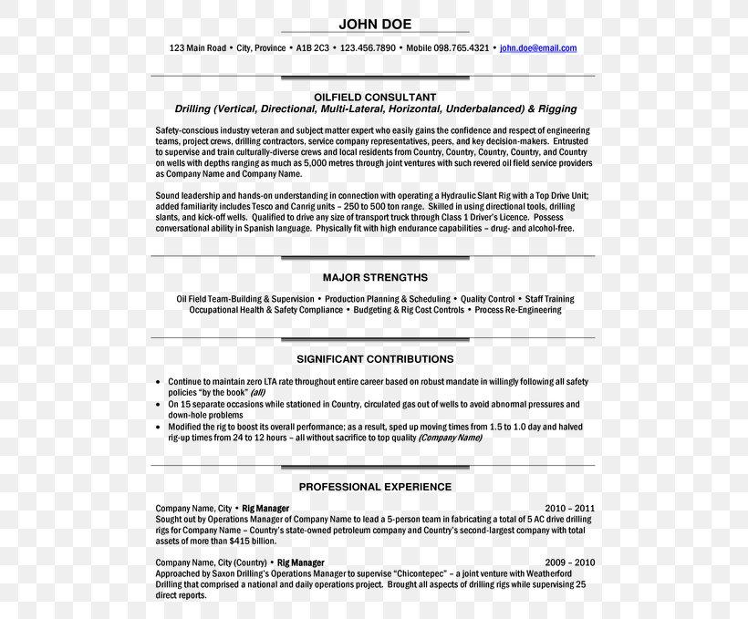 Résumé Petroleum Industry Operations Management Curriculum ...