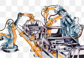 Machinery Production Line - Car Factory Automotive Industry Conveyor Belt Illustration PNG