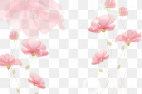 Ink Pink Flowers Background - Flower PNG