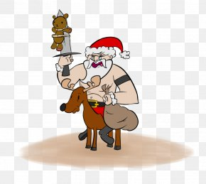 Teddyshow - Reindeer Santa Claus Horse Christmas Ornament PNG