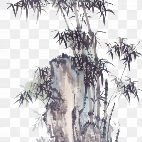 Bamboo - Bamboo Ink Wash Painting PNG