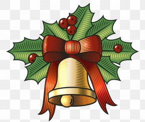 Large Christmas Bell With Holly Clip Art Image - Christmas Jingle Bell Clip Art PNG