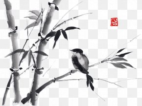 Ink Bamboo - Ink Wash Painting Drawing Bamboo Japanese Art PNG