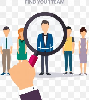 Take A Magnifying Glass To Find Someone - Recruiter Human Resource Management Businessperson Illustration PNG