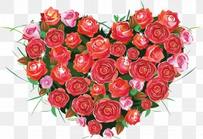 Valentine's Day Gorgeous Flowers Background - Rose Heart Love Desktop Wallpaper PNG
