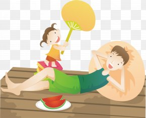 Father And Daughter Vacation Life To Eat Watermelon Shade - Summer Cartoon Poster Photography Illustration PNG