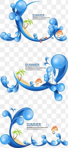 Summer,sailboat,seaside,Wave,spray,carp - Cartoon Illustration PNG