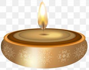 Diwali Gold Candle Transparent Clip Art - Candle Clip Art PNG