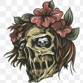 Skull And Flower Sketch Horns - Vector Graphics Skull Illustration Royalty-free Vector Packs PNG