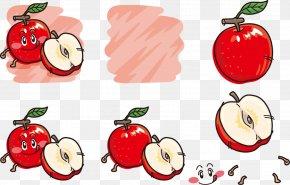 Cartoon Painted Apple Worm - Apple Cartoon Clip Art PNG
