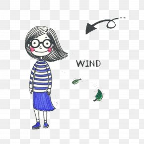 The Wind Blows The Girl's Hair - Wind Illustration PNG