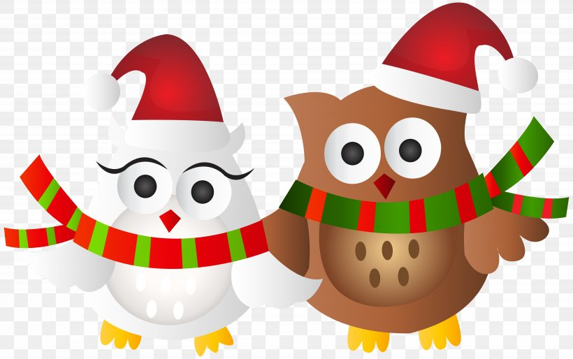 Owl Santa Claus Christmas Ornament Clip Art, PNG, 8000x5023px, Owl, Animal, Beak, Bird, Christmas Download Free