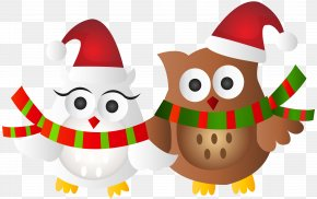 Christmas Owls Transparent Clip Art Image - Owl Santa Claus Christmas Ornament Clip Art PNG