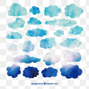 22 Watercolor Blue Clouds - Watercolor Painting Cloud Clip Art PNG