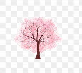 Vector Pink Whole Tree Cherry Tree Romance In Japan - Cherry Blossom Tree Euclidean Vector PNG
