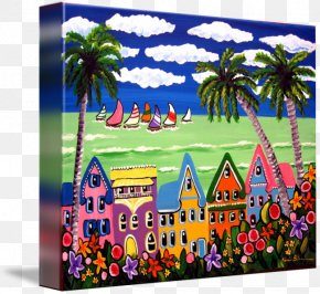 Seaside Scenery - Gallery Wrap Canvas Art Printmaking Beach PNG