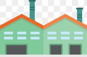 Green Cartoon Factory And Warehouse - Facade Factory Icon PNG