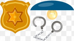 Hand-painted Police Badge Handcuffs Element - Police Officer Badge Hand PNG