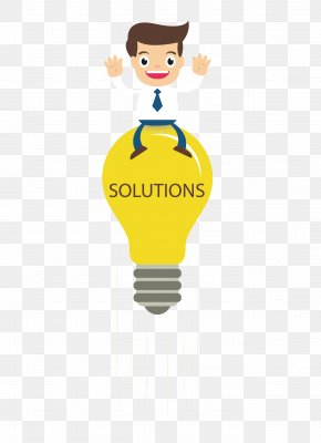 The Man Sitting On The Light Bulb - Presentation Slide Service Clip Art PNG