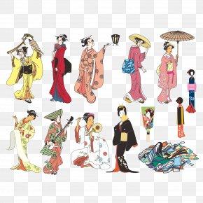 Traditional Japanese Woman Vector - Japan Drawing Clip Art PNG