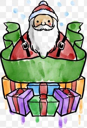 Watercolor Painted Santa Claus Ribbon - Santa Claus Watercolor Painting Christmas Clip Art PNG