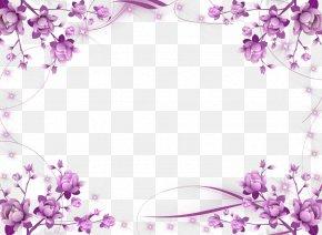 Flower Border - Borders And Frames Picture Frames Flower Purple Clip Art PNG