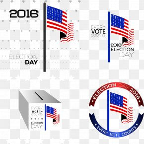 Vector American Flag And Ballot Box - United States Ballot Box PNG
